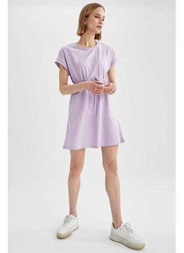 DeFacto Basic Beli Bağcıklı Elbise Mor